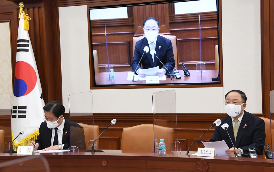 홍남기 부총리 겸 기획재정부 장관이 1월 21일 서울 광화문 정부서울청사에서 열린 '제3차 혁신성장 BIG3 추진회의'에서 발언하고 있다.