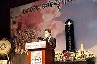 이남우 국가보훈처 차장이 11일 오후 2시 백범김구기념관에서 열린 대한민국임시정부 선열 추념식에 참석하여 추념사를 하고 있다.