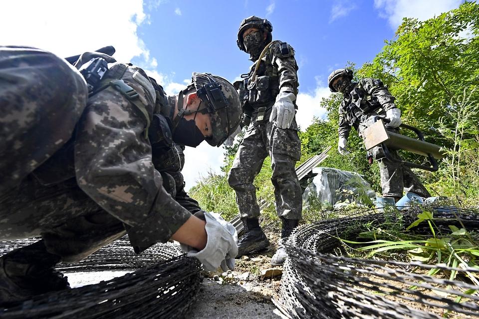 지난 8일 강원도 인제 육군과학화전투훈련단에서 진행된 '초급부사관 KCTC 훈련'에서 초급부사관들이 초급부사관들이 철조망 장애물을 설치하고 있다.