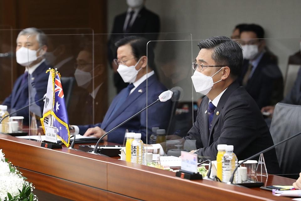 13일 오전 서울 용산구 국방부에서 열린 '한-호주 국방장관회담'에서 서욱 국방부 장관이 발언 하고 있다.