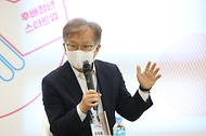 권칠승 중소벤처기업부 장관이 15일 오전 서울 구로구 글로벌창업사관학교에서 열린 '도전! K-스타트업 청년리그 간담회'에서 인사말을 하고 있다.