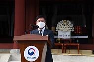 김현모 문화재청장이 26일 오후 전북 남원시 만인의총에서 열린 제424주년 만인의사 순의제향에 참석해 인사말을 하고 있다.
