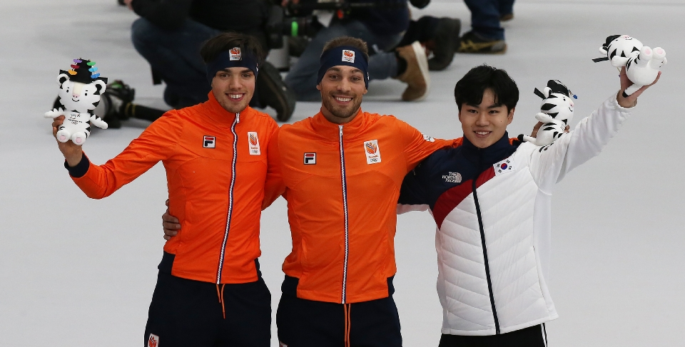 스피드스케이팅 남자 1,500m 메달 경기, 김민석 동메달, 금은메달을 차지한 네덜란드 키얼트 나위스, 파트릭 루스트