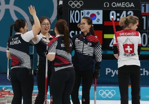 컬링 여자 예선 세션 시트 B 경기, 한국 대 스위스