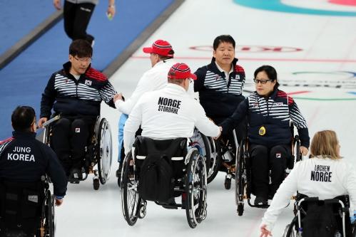 2018 평창동계패럴림픽 휠체어컬링 대한민국 대 노르웨이 4강전 경기