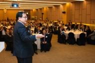 유영민 과학기술정보통신부 장관이 8일 오후 서울 용산구 국방컨벤션 충무홀에서 열린 '제26회 국방군사 세미나' 에 참석해 '4차 산업혁명과 미래국방 발전방향' 을 주제로 기조연설 하고 있다.
