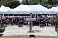 심덕섭 국가보훈처 차장이 11일 오전 제13회 개미고개 6.25전쟁 격전지 추모제에 참석하여 추모사를 하고 있다.