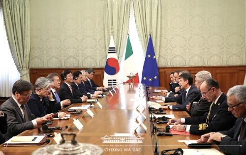 콘테 총리와 한·이탈리아 정상회담