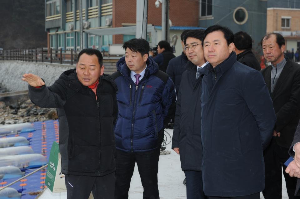 김영춘 장관이 10일 오후 금년에 어촌뉴딜 300사업 대상지로 선정된 중리어촌체험마을 특산물인 감태 생산 현장을 둘러보았다.