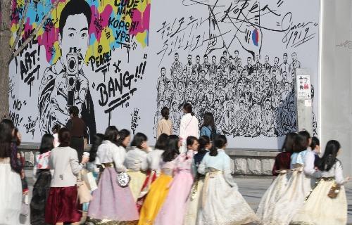 광화문 도심 속 독립운동가들의 그림
