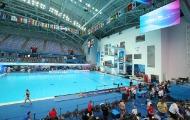 12일 오전 남부대 시립국제수영장에서 김영남 선수를 비롯한 각국 선수들이 연습을 하고 있다.