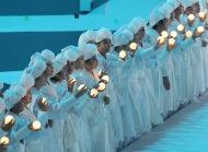 12일 저녁 광주여대 U-돔에서 '2019 광주세계수영선수권대회'개막식 행사가 열리고 있다. 이날 문재인 대통령이 훌리오 마글리오네 국제수영연맹(FINA) 회장과 이용섭 대회 조직위원장 등 주요 내빈들과 참석했다.