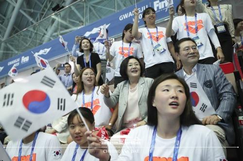 김정숙 여사 '2019 광주 세계수영선수권 대회' 관람