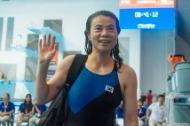 1970년대 중후반 대한민국 여자 수영계를 주름잡았던 수영 스타 최연숙 씨가 12일 광주 남부대 경영 메인 풀에서 열린 2019 광주 세계 마스터즈 수영 선수권 대회 여자 자유형 800미터에서 1위로 들어온 뒤 밝은 미소를 짓고 있다.