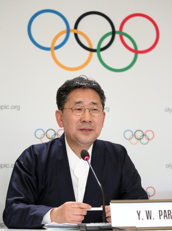 박양우 문화체육관광부 장관이 10일 제135회 국제올림픽위원회(IOC) 총회가 열린 스위스 로잔 스위스 테크 컨벤션 센터(STCC)에서 2024 동계청소년올림픽의 강원도 개최가 확정된 뒤 기자회견을 하고 있다.