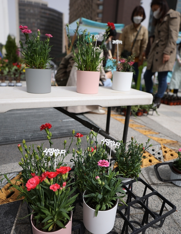7일 어버이날을 하루 앞두고 서울 중구 세종대로 사람숲길에 상생꽃집이 마련되어 지나가는 시민들이 꽃을 구매하고 있다.