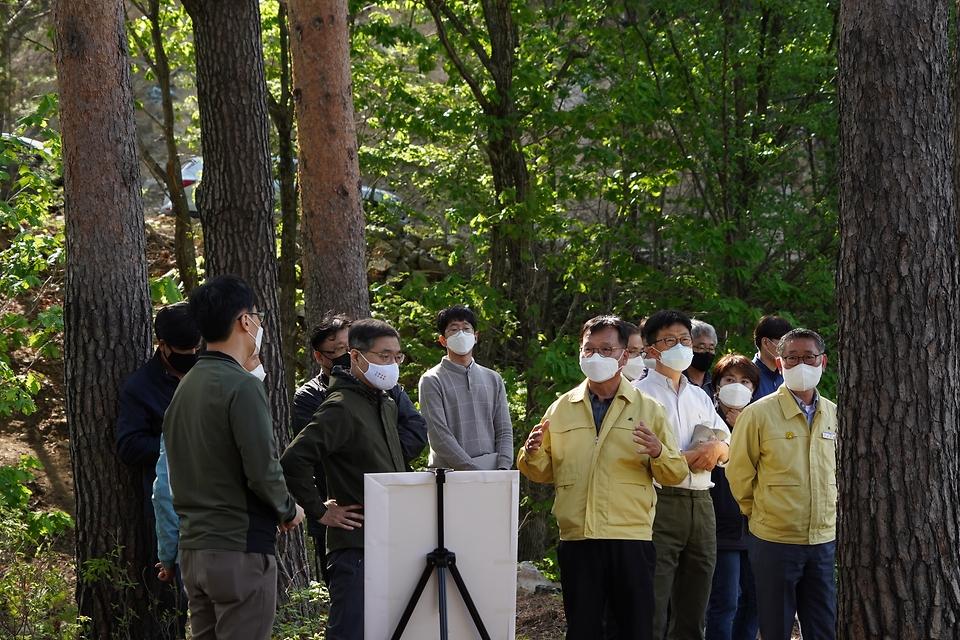 최병암 산림청장이 13일 오후 경북 울진군 금강소나무 숲을 찾아 산림의 생태적 관리와 국가 보호지역 관리 강화 방안에 대해 관계자들과 논의하고 있다.