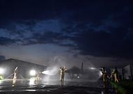 야간 항공기 화재 소방훈련 사진 1