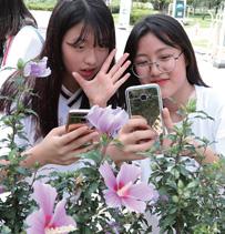 광복절을 열흘 앞둔 8월 5일 경기 수원시 장안구 만석공원에서 열린 '제27회 나라꽃 무궁화 수원축제'에서 자원봉사 활동에 참여한 중학생들이 즐거운 시간을 보내고 있다.