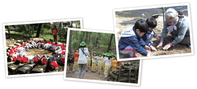 유아숲체험원을 찾은 아이들이 숲체험, 나무 심기 등을 하고 있다.