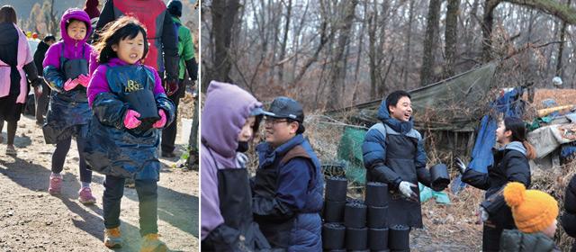 일곱 살, 아홉 살 자매가 부모님을 따라 봉사를 하고 있는 모습