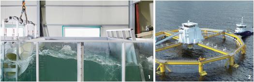 인공 파도로 파력발전기 '웨이브 쉬림프'를 시범운영하는 모습