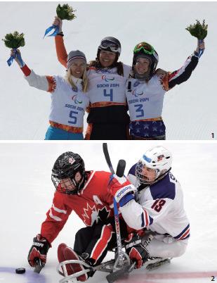 2014년 3월 14일 비비안 멘텔 스피(가운데)가 소치동계패럴림픽 여자 스노보드 크로스스탠딩에서 금메달을 획득했다.