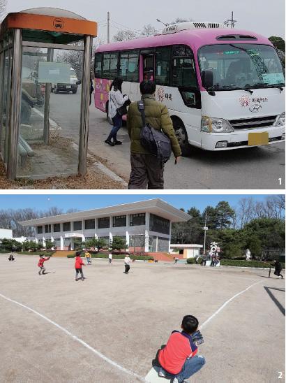 대성동 자유의 마을에 유일하게 다니는 대중교통인 '따복버스'. 자유의 마을과 문산을 오가며 새벽 6시를 첫차로 하루 4회 운행된다.