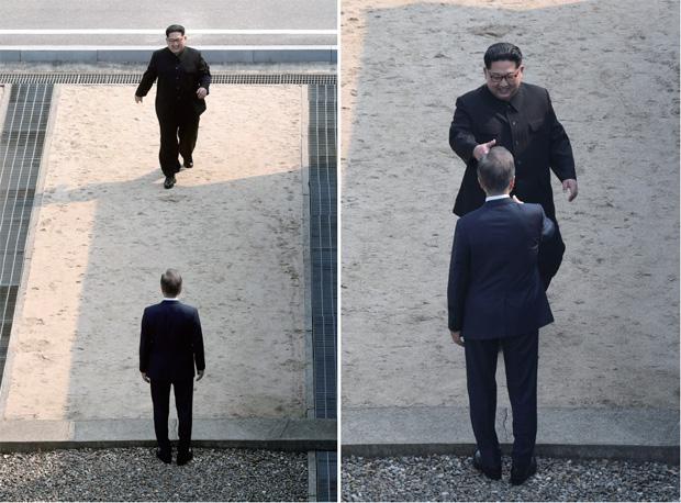 4월 27일 '2018 남북정상회담'이 개최됐다. 오전 9시 28분, 김정은 국무위원장이 판문점 군사분계선 이남에서 기다리는 문재인 대통령을 향해 걸어오고 있다