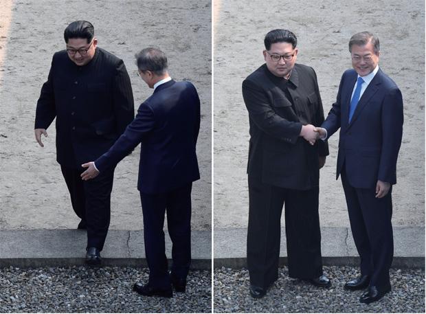 북한 지도자로서는 최초로 군사분계선을 넘는 김 위원장을 문 대통령이 손을 뻗어 환영하고 있다.