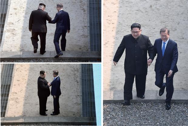 """문 대통령이 """"남측에 오시는데, 나는 언제쯤 넘어갈 수 있겠습니까""""라고 하자 김 위원장은 """"그럼 지금 넘어가 볼까요?""""라며 문 대통령의 손을 이끌었다"""