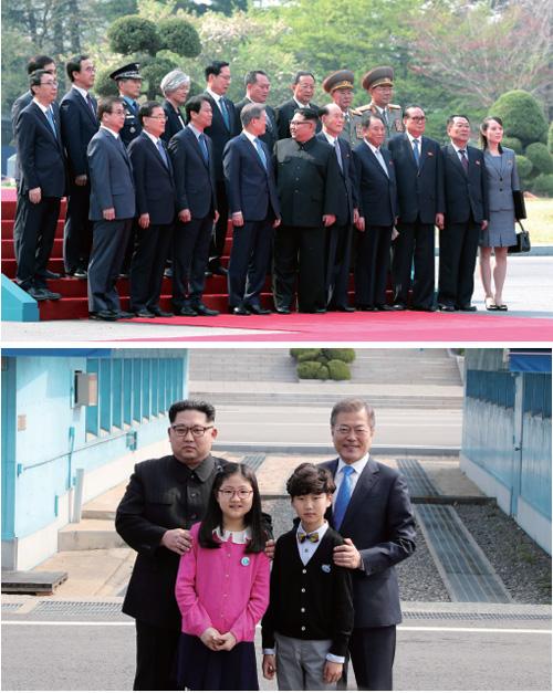 문 대통령과 김 위원장이 남북 양측 수행원들과 기념촬영을 하고 있다.