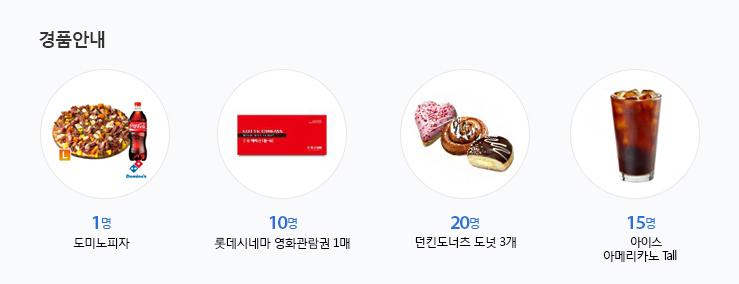 경품안내 - 도미노피자 1명, 롯데시네마 영화관람권 1매 10명, 던킨도너츠 도넛 3개 20명, 아이스 아메리카노 Tall 15명