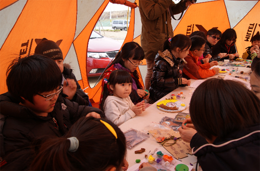 3월 31일~4월 1일 경기도 여주 이포보 오토캠핑장에서 열린 '가족휴먼캠핑' 모습.