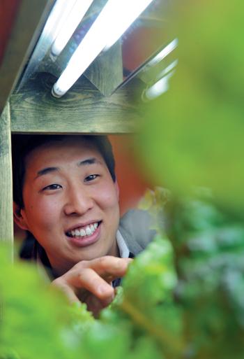 박아론 대표가 식물공장에서 자라고 있는 상추의 상태를 점검하고 있다.
