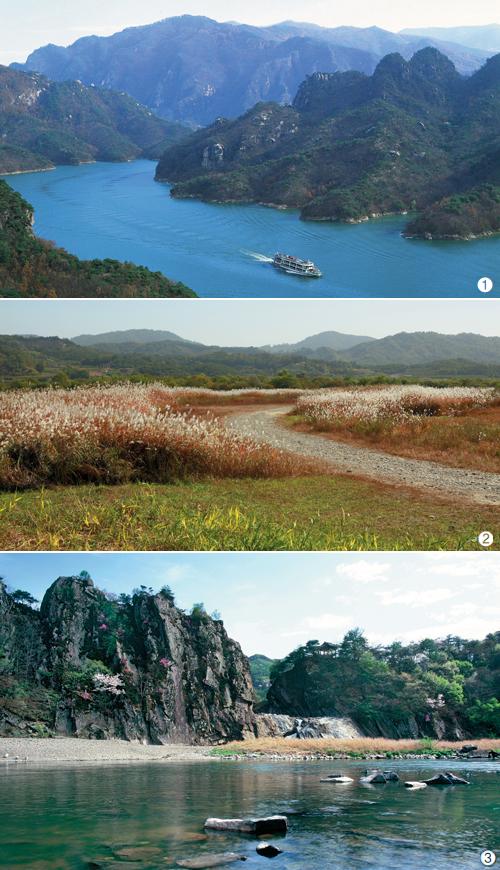 1 충주의 상징 충주호. 호수를 둘러싼 산과 푸른 물이 묘한 조화를 이룬다. 2 비내길을 따라 걸으면 물억새 군락지를 만날 수 있다. 3 8개의 봉우리가 만나 절경을 완성한 수주팔봉.