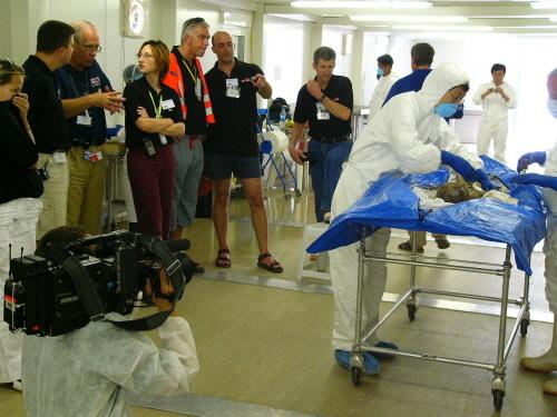 태국 쓰나미 재난현장에서 영국 BBC 방송이 우리의 지문채취 기법을 촬영하고 있다. <사진=윤광상 경위 / >