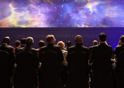 20일 오전 부산 해운대구 APEC로 벡스코(BEXCO)에서 열린 `2014 ITU 전권회의 개회식`에서 박근혜 대통령과 참석자들이 공연을 관람하고 있다.