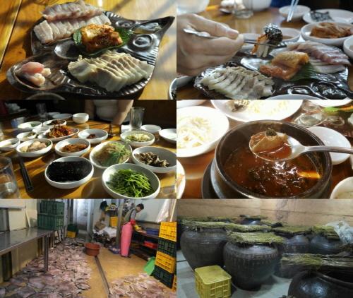 나주의 홍어는 전통옹기발효로 삭혀진다. 삭힌 홍어로 만들어진 다양한 음식을 맛볼 수 있었다. 특히 부위별로 삭힌 정도가 달라 맛이 달랐다.