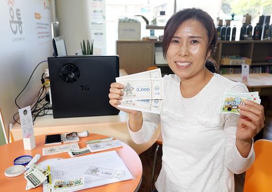 시장상인회 직원이 쿠폰과 상품권을 보여주고 있다. 상인회는 이런 100원 쿠폰을 연 70만장 발행한다.