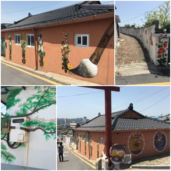 교동민화마을의 전경. 옛골목길의 정취가 물씬 풍기는 이곳은 민화 벽화가 정겨운 동네이다.