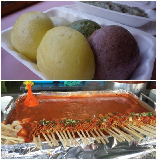 제천동문시장에선 제천의 명물인 황기와 의림지쌀로 쪄낸 찐빵과 빨간어묵으로 저렴한 한 끼 식사가 가능하다.