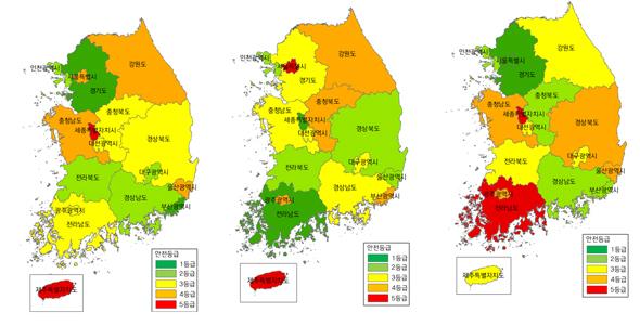 지역안전등급 경기 '최고'…부산·세종·제주 '최저'