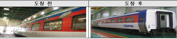 무궁화호 열차 도장 전후 모습.