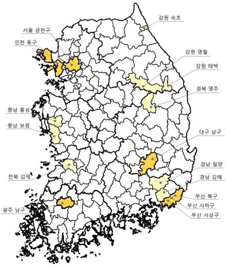 2017년 새뜰마을사업 대상지 선정결과 전국 현황도(제공=국토교통부)