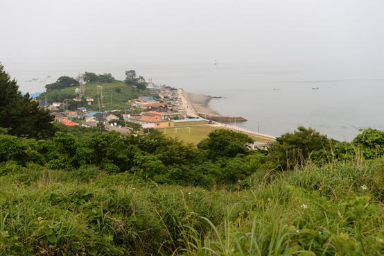 언덕에서 바라본 마을과 초등학교.
