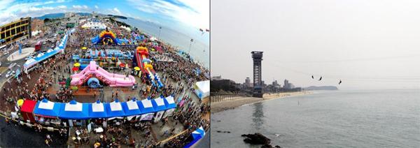 대천해수욕장 머드축제(왼쪽) 모습과 짚트랙. (사진=해양수산부)