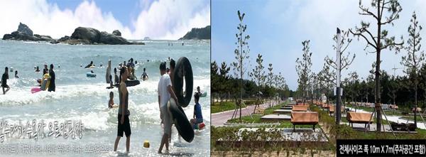 봉수대해수욕장 전경(왼쪽) 및 오토캠핑장.