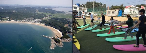 만리포해수욕장 전경(왼쪽)과 서핑 교습.