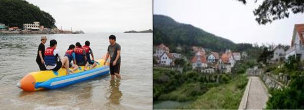 상주은모래 해수욕장 해양레저 교실(왼쪽) 및 독일마을.